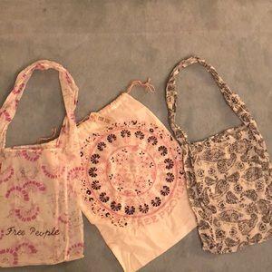 Set of three Free People tote bags